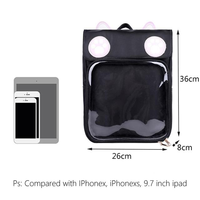 2020 Women Cute ITA Bag Wih Cat Bagging Backpacks Paws School backpack for teenager girls transparent backpack Clear Itabag H204 6