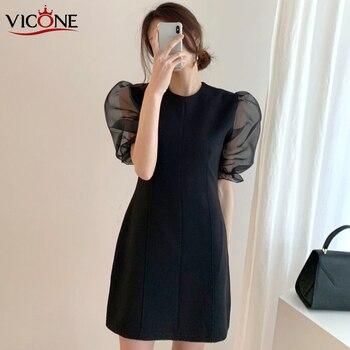 цена на VICONE South Korea Chic Hepburn Wind round Neck Thin High-Waisted Long Organza Splicing Puff Sleeve Chiffon Dress Women