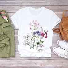 Vrouwen Bloem Dame Mode Korte Mouw Esthetische Kleding Zomer Shirt T-shirts Top T Grafische Vrouwelijke Dames Womens Tee T-shirt cheap BONJEAN Cn (Oorsprong) Spring Autumn COTTON Polyester SHORT REGULAR Broadcloth Floral NONE Casual O-Neck