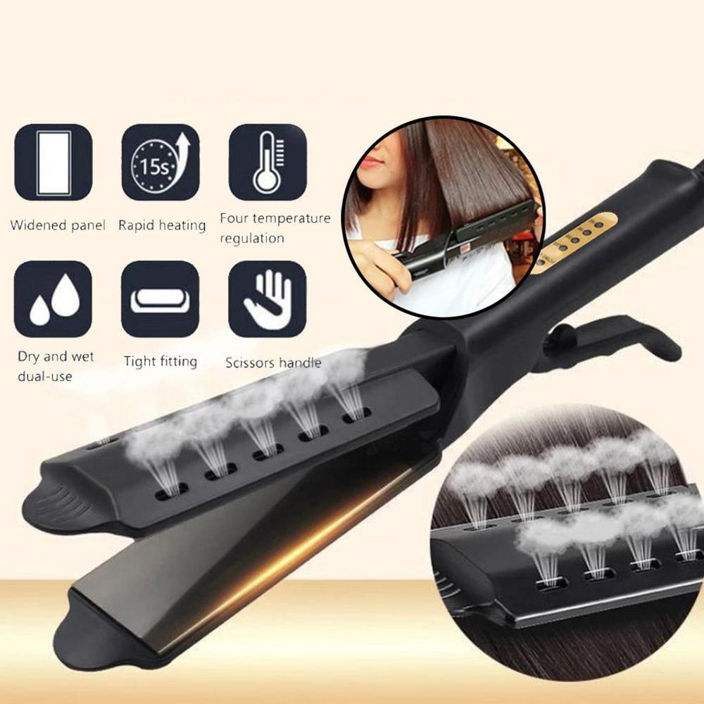 Hair dryer brush Straightener Four-gear temperature adjustment Ceramic Tourmaline Ionic Flat Iron Hair Straightener
