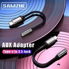 Samzhe tipo c para 3.5 jack fone de ouvido cabo usb c para 3.5mm aux fones adaptador para huawei companheiro 10 p20 pro xiaomi mi 6 8 nubia