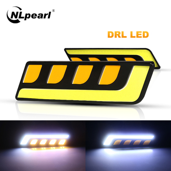 Nlpearl 2x Car Light Assembly Led Fog Daytime Running Lights Dual Color White Yellow Auto DRL COB Day 12V