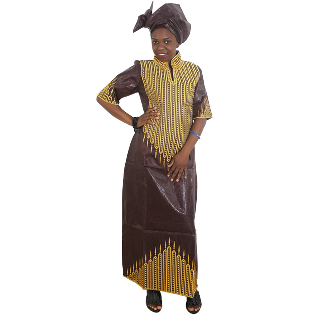 MD african bazin dresses for women embroidery long dress chiffon head wrap south africa lady clothes evening party dresses