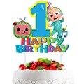 1 комплект Cocomelon тема Дети сувениры украшения для капкейка-с барабанные палочки Baby Shower счастливые на дни рождения, особые события вечерние т...