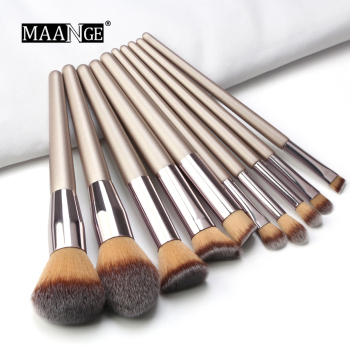 10 pcs Professional Makeup Brushes Metal Tube Paint Handle Eye shadow Eyelash Concealer Cosmetic brush Set drop shipping 1