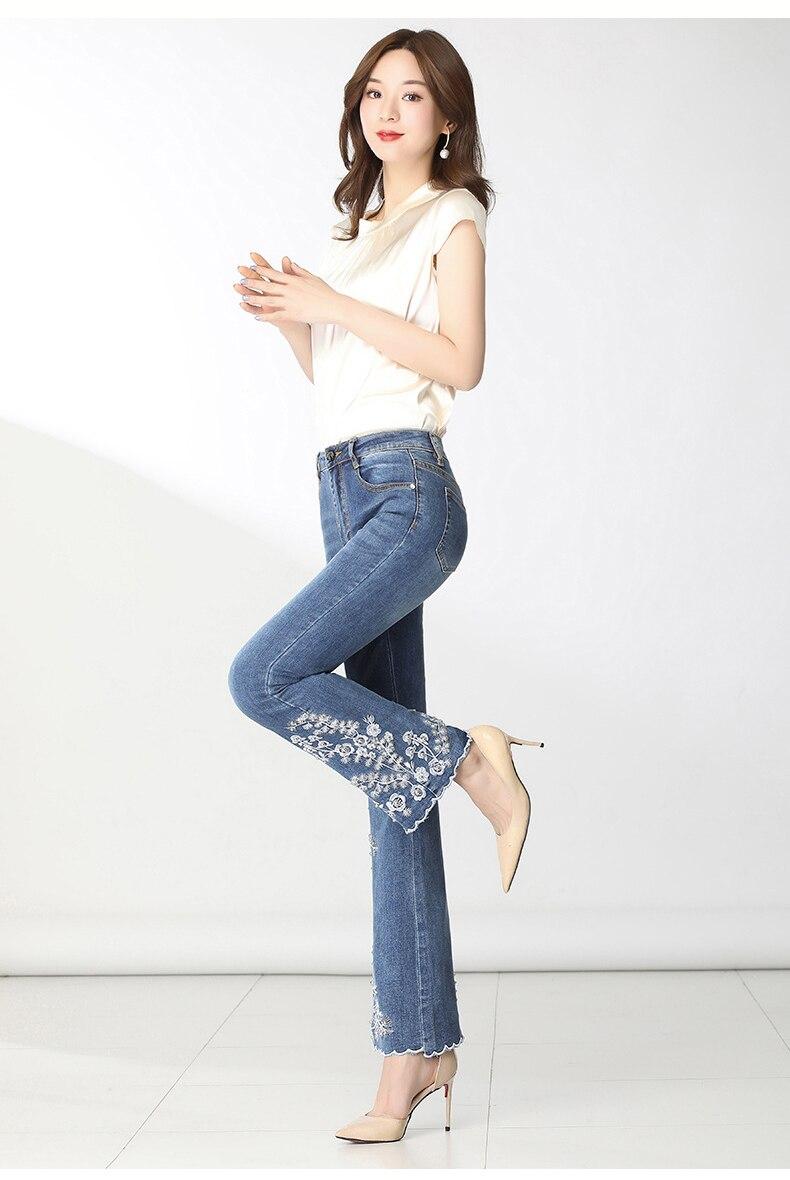 KSTUN FERZIGE Women Jeans High Waist Embroidered Floral Beads Desinger Bell Bottom Stretch Flared Pants Women's Clothes Big Size 36 14