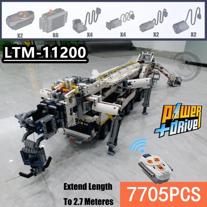Nova moc energia móvel guindaste edifício ltm11200 rc liebherr técnica kits de motor tijolos aniversário diy brinquedo presente c104
