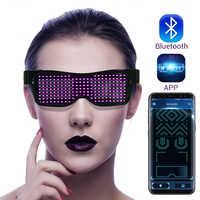 Magia Bluetooth Led Vetri Del Partito APP di Controllo Luminoso Occhiali EMD DJ Elettrico Sillabe di Occhio Del Partito Occhiali
