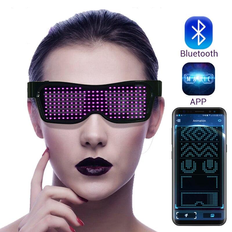 Magique LED bluetooth fête lunettes APP contrôle lumineux lunettes EMD DJ électrique syllabes fête lunettes