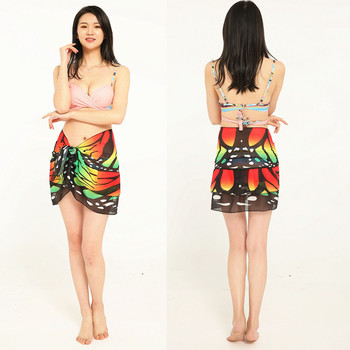 Sagace Skirt Women Butterfly Print Chiffon Sunscreen Shawl Beach Bikini Swimwear Wrap Coverup Skirt Swimsuit Cover Up Skirt 8