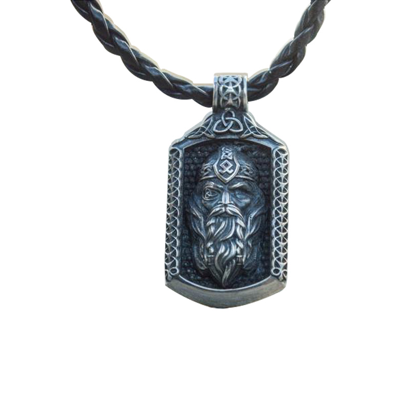 Classic Retro Hip Hop Necklace Pendant Stainless Steel Viking Nordic Odin Avatar Men Necklace Accessories
