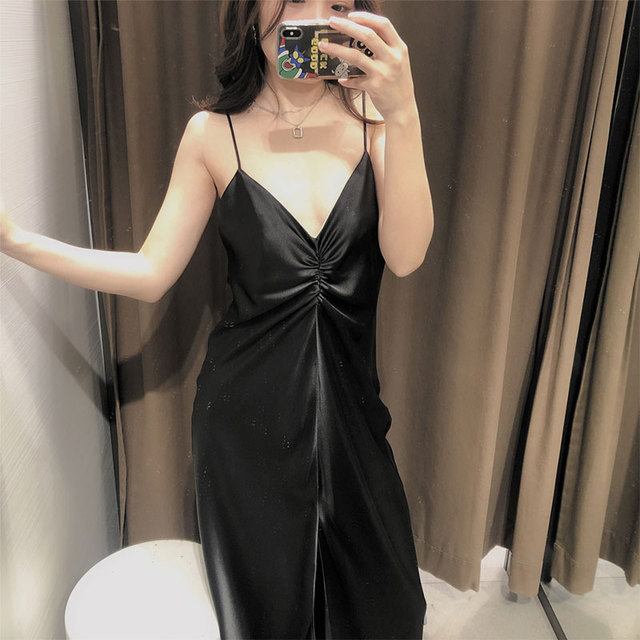 Qeils Women's Sexy Chic Fashion Pleated Solid V Neck Spaghetti Strap Mid-Length Dress Casual Vintage Open Back Dress Vestidos 4