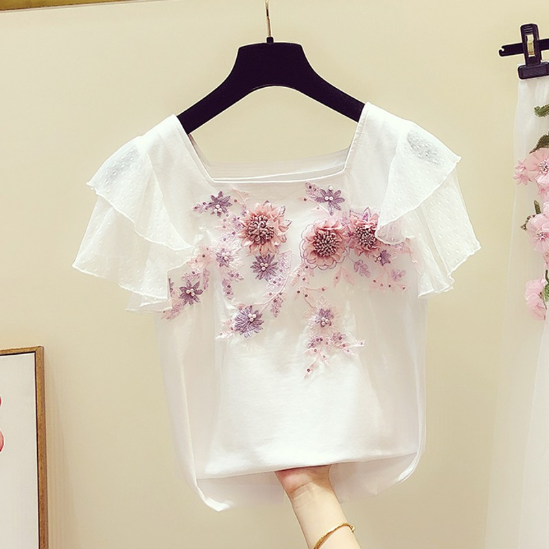 Tshirt Woman 2020 Spring Summer New Sweet Hand Embroidery Flowers Ruffle Sleeve T-shirt Women's Casual White T-shirts Tees Tops