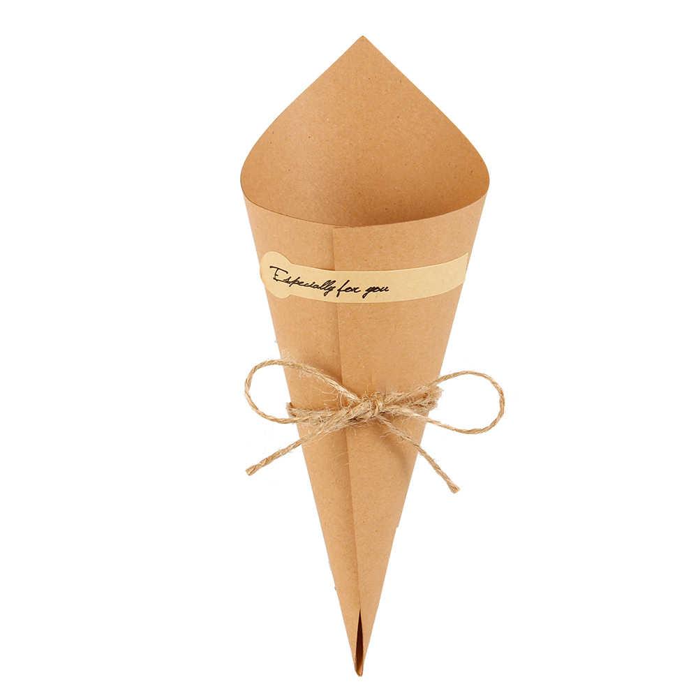 נייר אריזת מתנה 50PCS קראפט נייר קונוסים גלידת פרח DIY זר מחזיק סוכריות קופסות שולחן תפאורה חתונה מתנות מפלגה ספקי
