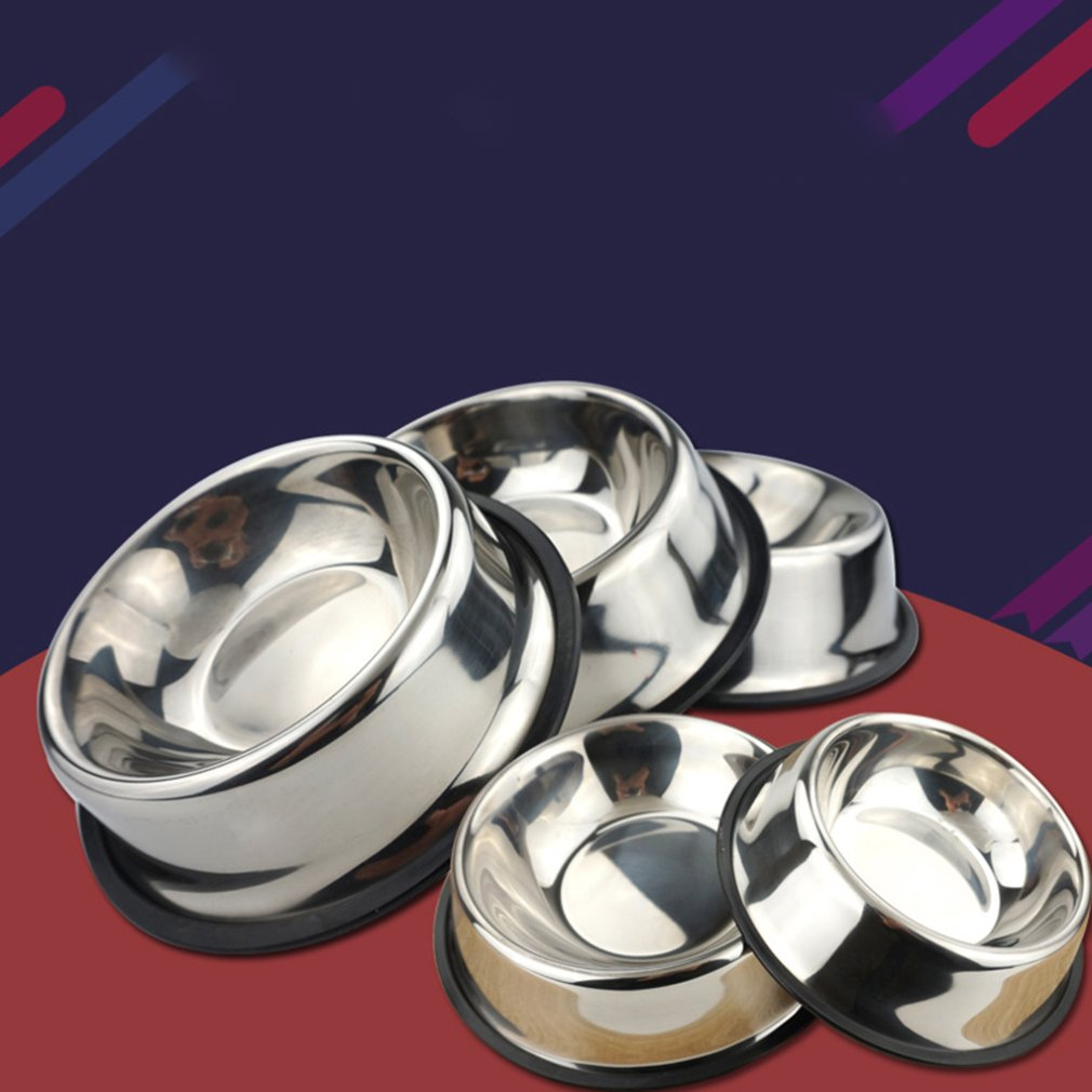 Pet Supplies Dog Cat Bowls Non-Slip Stainless Steel Travel Feeding Feeder Water Bowl For Pet Dog Cats Puppy Outdoor Bowl 6 Sizes