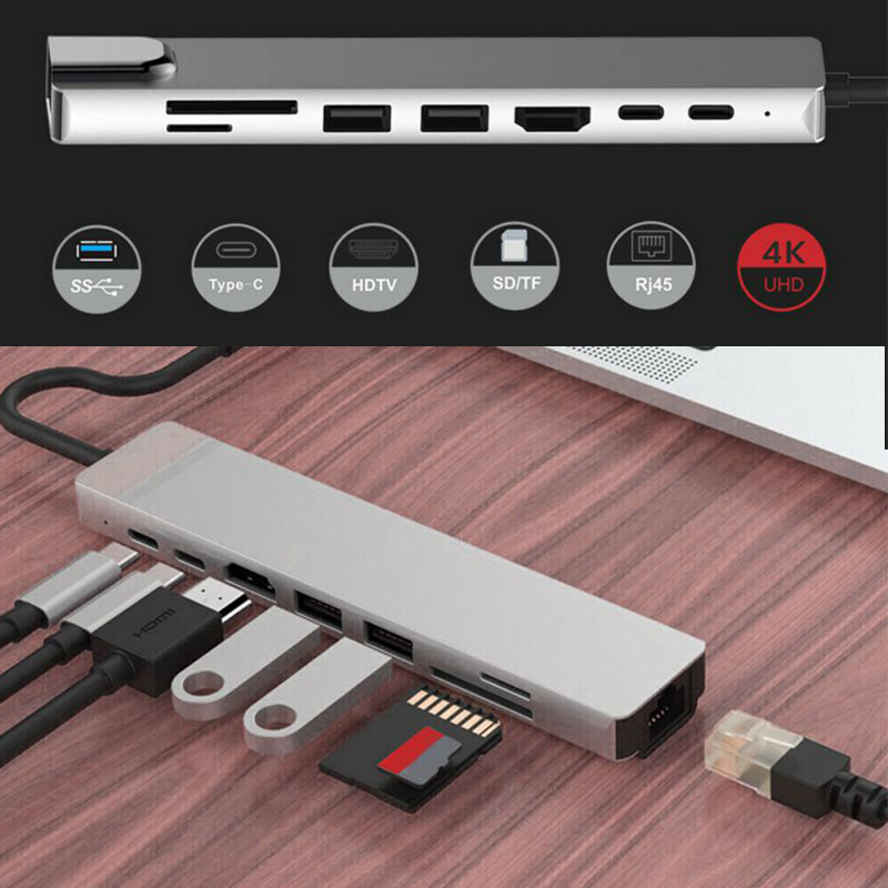 8-in-1 Dual USB-C USB C HUB With 4K HD SD/TF Card Reader 3 USB 3.0 HUB Thunderbolt Type-C HUB For MacBook Pro Memory Card Reader