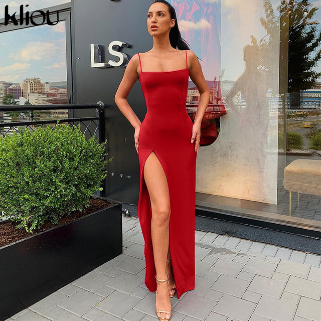 Sleeveless slit sexy maxi long dress autumn winter women fashion party elegant outfits bodycon black pure clothing 6