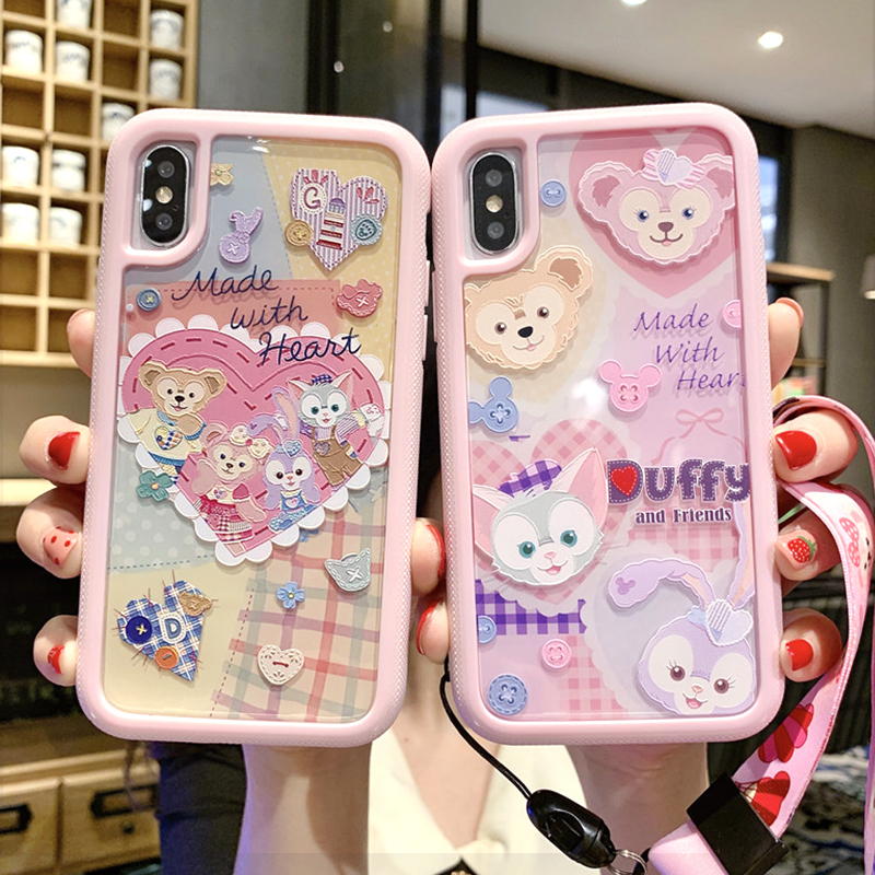 For iPhone XS Max Duffy 2in1 back Case cartoon love cover for iPhone 11 pro X XR 7 8 6s Plus alice wave shockproof shell + strap|Fitted Cases| |  - title=