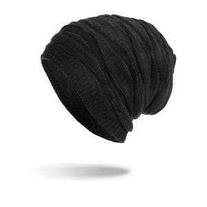 Image 2 - TOHUIYAN szydełkowa czapka kapelusz dla mężczyzn Slouchy jesień czapki zimowe moda czaszka czapka z dzianiny Hip Hop grube ciepłe czapki Baggy kobiety kapelusz