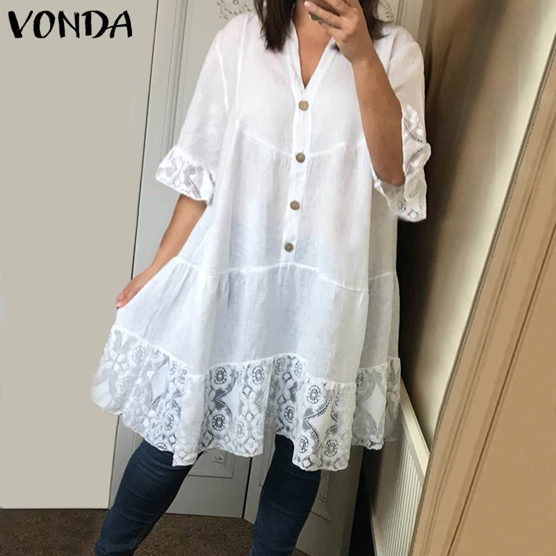 VONDA Lace Blouse Women Sexy V Neck Flare Sleeve Beach Tops Party Shirts 2020 Summer Tunic Female Casual Blusas Plus Size S-5XL