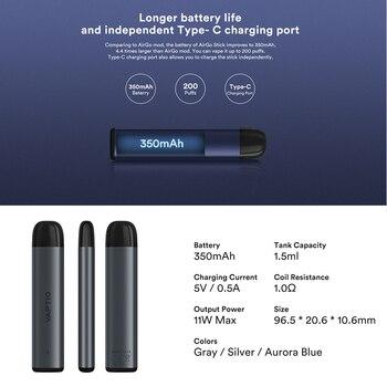 Cigarette électronique Vaptio Airgo Stick, Kit Pod, batterie 350mAh, mod, réservoir de cartouche 1.5ML, sortie 11W, stylo vapoteur, nouveau