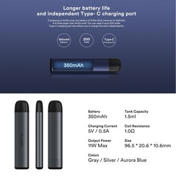 Dosettes gratuites!! Vaptio – Kit de démarrage pour stylo Airgo Stick, 350mAh, réservoir à cartouche de 1.5ML, 11W