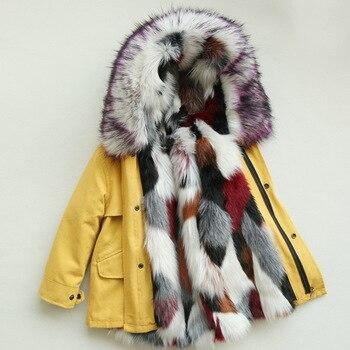Dollplus -30 Degrees Winter Jacket Girl Fur Clothes Kids Warm Thicken Hooded Faux Fur Coats Teen Outwear Toddler Boy Jacket