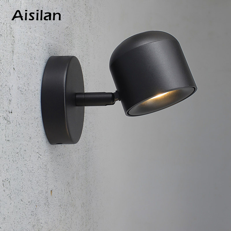 Aisilan Wall Lamp Modern Style Wall Light Adjustable Black/White 7W For Bedroom Foyer Mirror Light Corridor Sconce AC90-220V