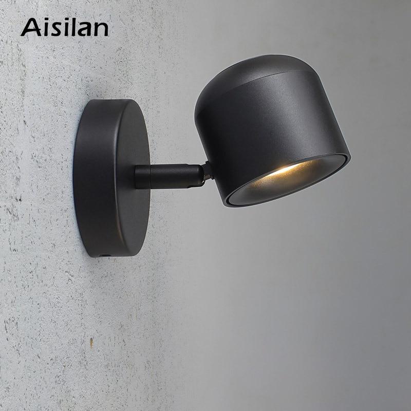 Aisilan Wall Lamp Modern Style Wall Light Adjustable Black/White 7W For Bedroom Foyer Mirror Light Corridor Sconce AC90-220V