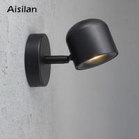Aisilan Wall Lamp Modern Style Wall light Adjustable Black/White 7W for Bedroom Foyer Mirror Light Corridor sconce AC90 220V