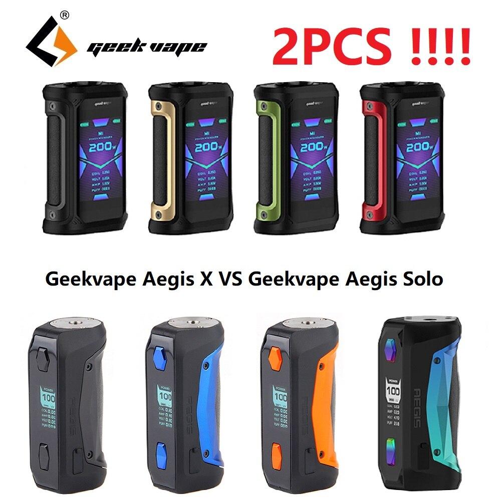 Dernière Version!!! 2 pièces Geekvape Aegis X Mod 200W Max sortie & nouveau AS 2.0 Chipset VS Geekvape Aegis Solo Mod e-cig Mod vaporisateur