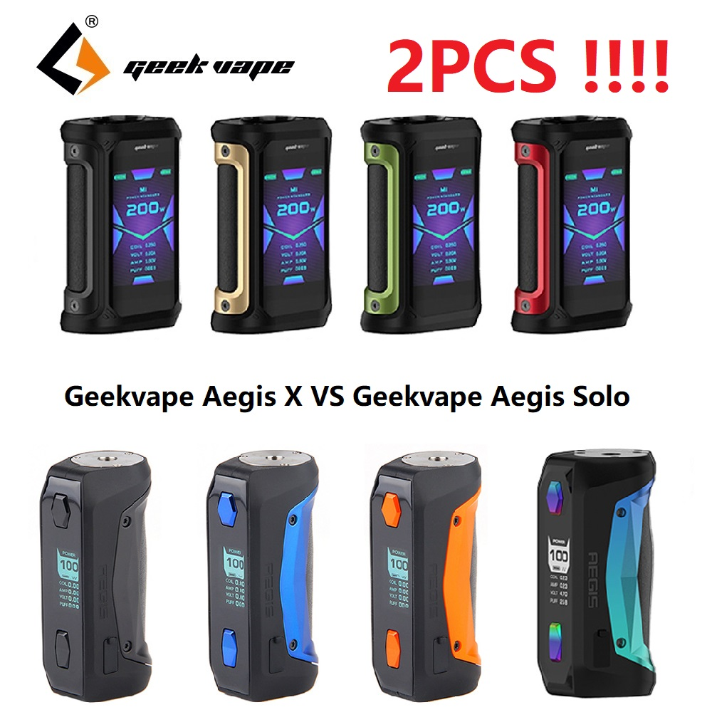Latest Version!!! 2PCS Geekvape Aegis X Mod 200W Max Output & New AS 2.0 Chipset VS Geekvape Aegis Solo Mod E-cig Mod Vaporizer