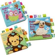 Bebê brinquedos macios animal bordado pano livro recém-nascido desenvolvimento precoce atividade livros crianças presentes wj411