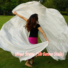 """1 PEDAÇO sólido branco 2.7m * 1.14m(3 quintal * 45 """") 6mm habotai seda real dança do ventre meio círculo véu."""