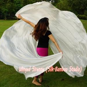 "Image 1 - 1 PIECE solid white 2.7m*1.14m(3 yard*45"")  6mm habotai real silk belly dance half circle veil."