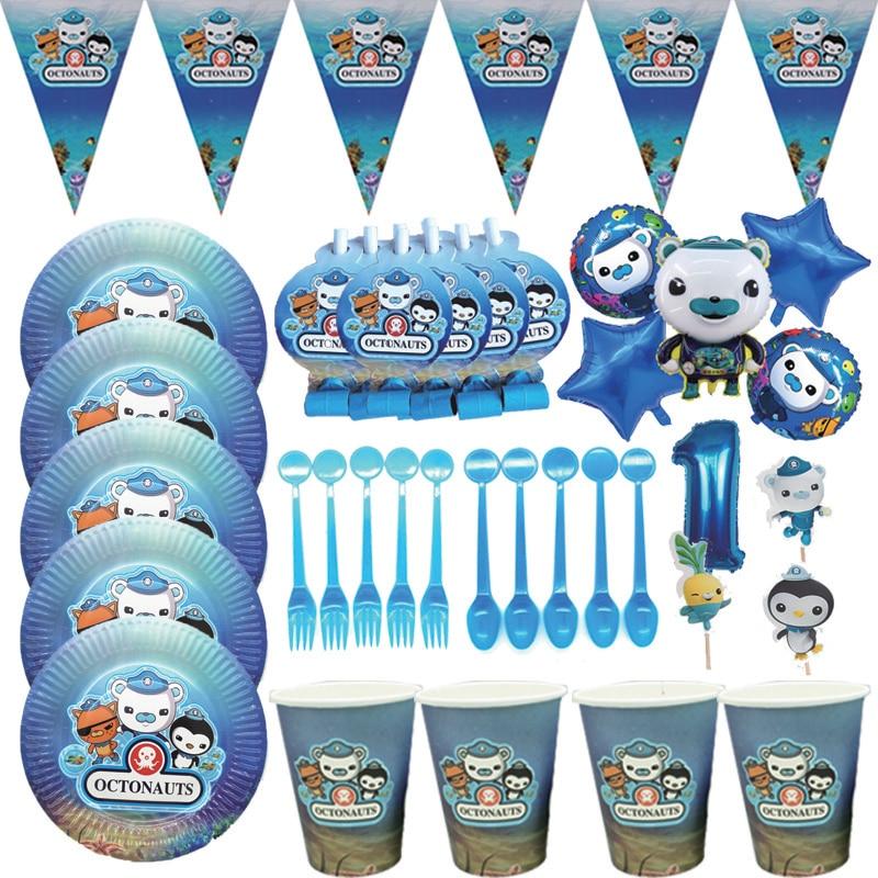 «Октонавты» тематическая вечеринка на день рождения украшения одноразовая посуда Бумага тарелка соломы скатерть Baby Shower поставки
