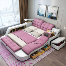 Cloth Bed Furniture-Tatami Massage Multi-Functional Bedroom Double-Bed Simple And Modern
