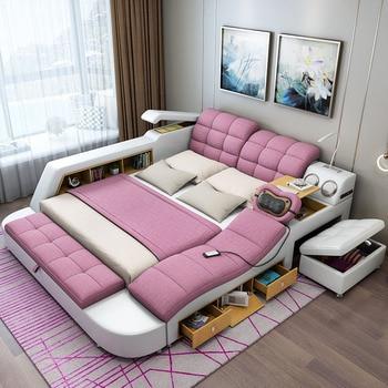 سرير تاتامي لأثاث غرف النوم سرير عصري بسيط يمكن إزالته وغسله من القماش 1.8 متر ماستر سرير مزدوج متعدد الوظائف 1
