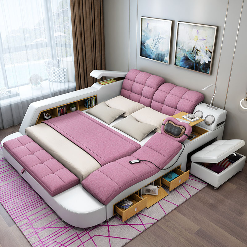 Muebles de dormitorio cama Tatami moderno Simple masaje puede ser eliminado y lavado de cama de 1,8 m maestro Multi-funcional de doble cama