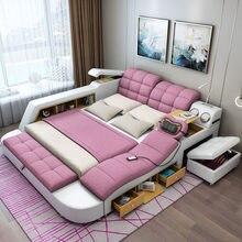 A mobília do quarto tatami cama moderna simples massagem pode ser removida e lavada cama de pano 1.8m mestre multi-funcional cama de casal