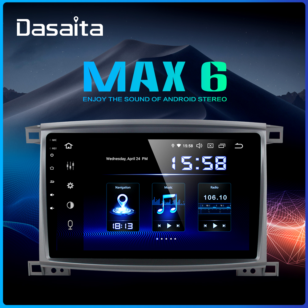 Dasaita Radio 1 Din Android 9.0 Car Stereo for <font><b>Toyota</b></font> <font><b>LC</b></font> <font><b>100</b></font> Land Cruiser <font><b>100</b></font> 2003 GPS Navigation Bluetooth 64GB ROM image