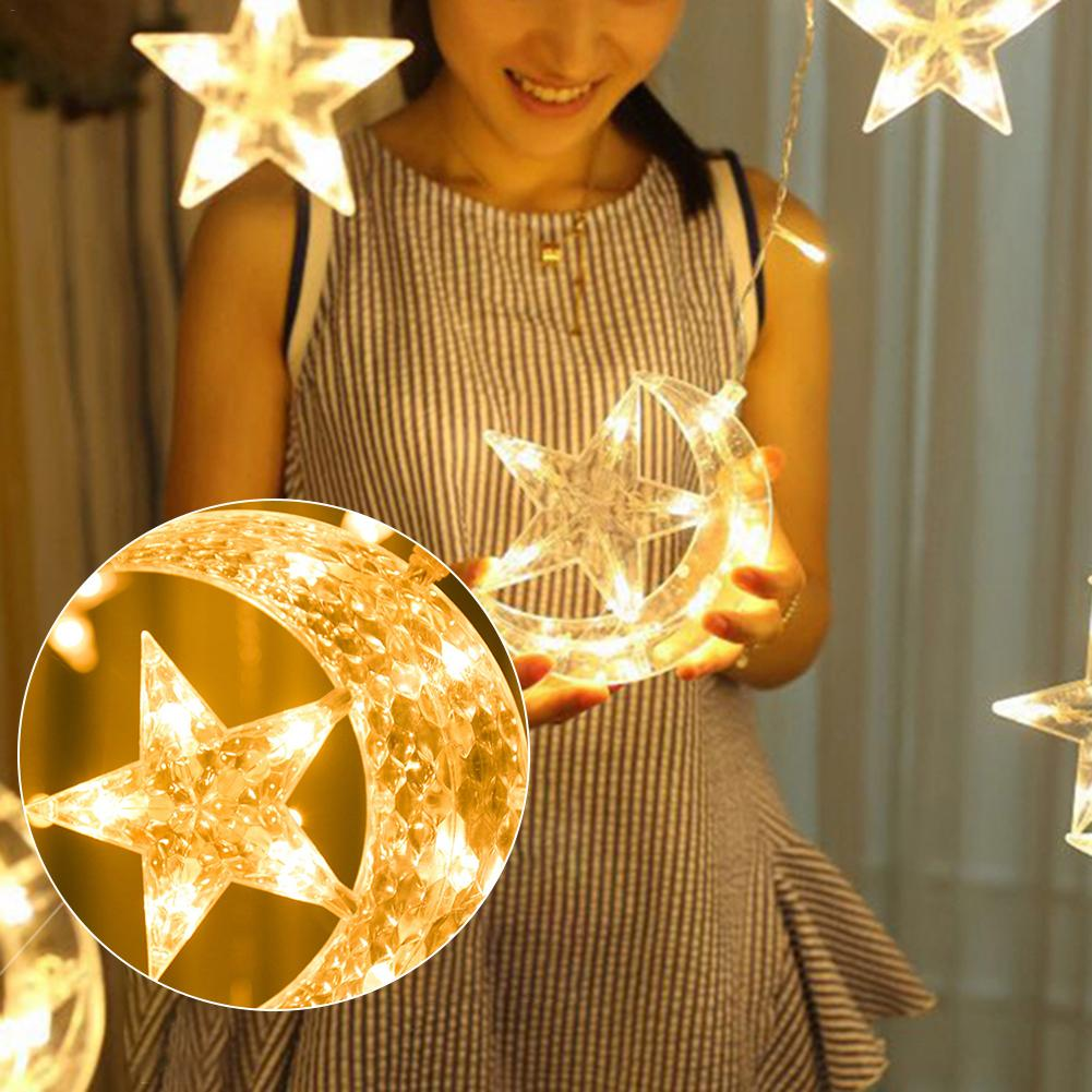Moon Star Lamp LED Lamp String Christmas Lights Decoration Holiday Lights Curtain Lamp Wedding Decoration Neon Lantern