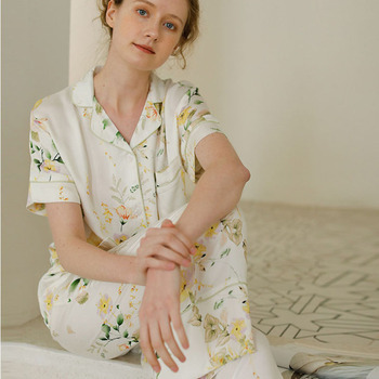 Floral Printed Two Pcs Set Pajamas for Women Summer Cool Short-sleeved Long Trousers Pijama Mujer Verano - discount item  10% OFF Women's Sleep & Lounge