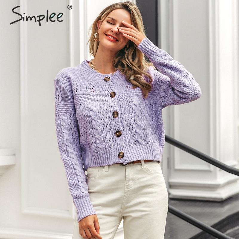 Simplee Elegant Knitted Women Sweater Cardigan Autumn Winter Long Sleeve Female Cardigan Coat Party Wear Ladies Outwear Cardigan