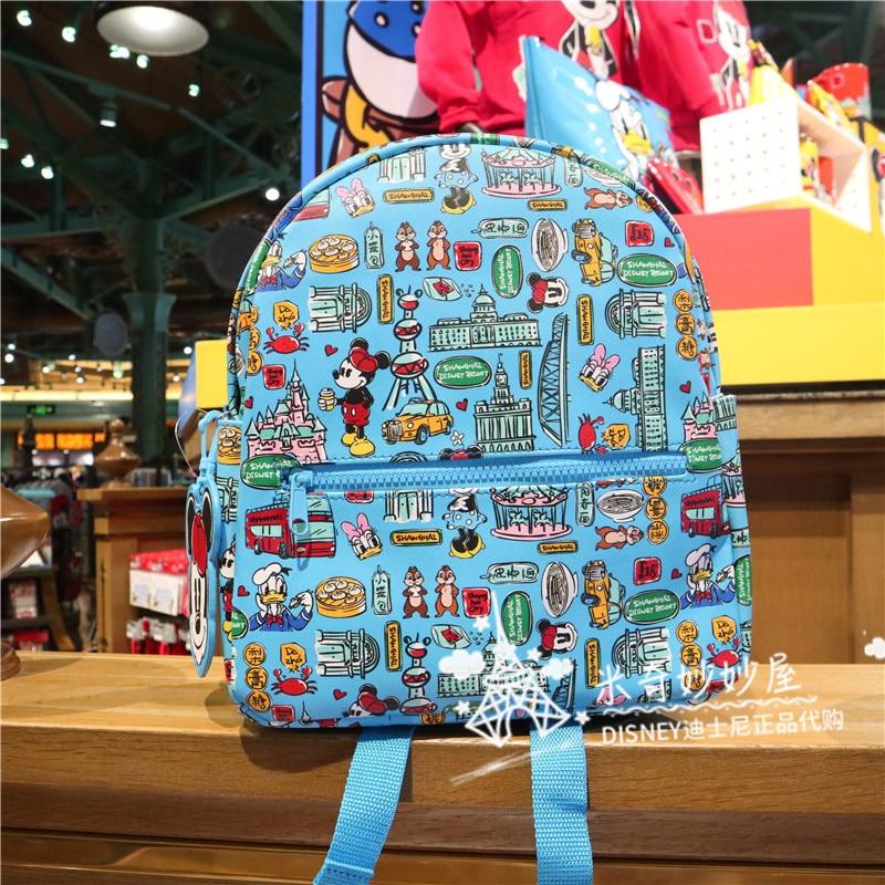 Original Shanghai Disney Shopping Colorful Shanghai Mickey Cartoon Backpack Cute Small School Bag Leisure Travel