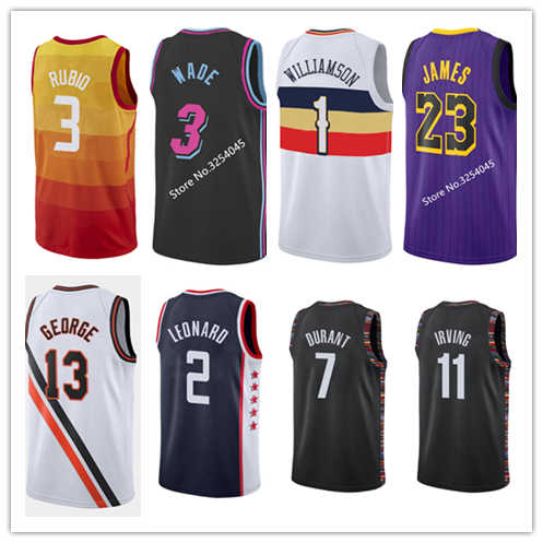 #77 Luka Doncic #1 Zion Williamson #11 Kyrie Irving #2 Kawhi Leonard #13 Paul George City Edition Basketball Jersey