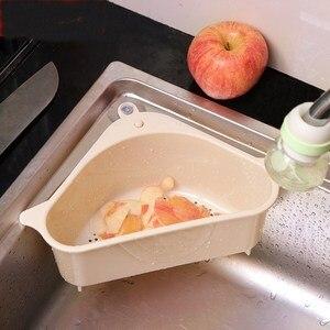 Sink Filter Kitchen Triangular Sink Filter Strainer Drain Vegetable Drainer Basket Suction Cup Sponge Holder Storage Rack #1