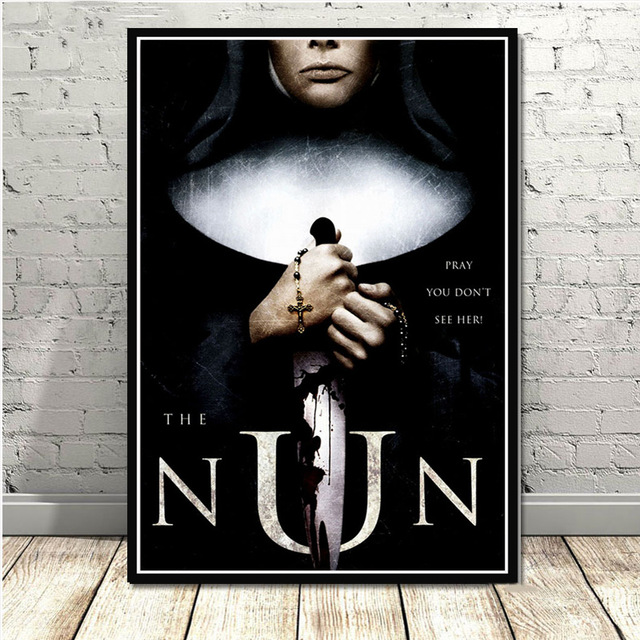 The Nun Classic Horror poster diamond painting 5D DIY cross stitch Full circle square diamond embroidery set home decoration-1