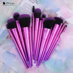 Image 4 - DUcareแปรงแต่งหน้า15PCS Professional Synthetic Hairสำหรับแต่งหน้าอายแชโดว์Foundation Blush Set Beauty Necessity