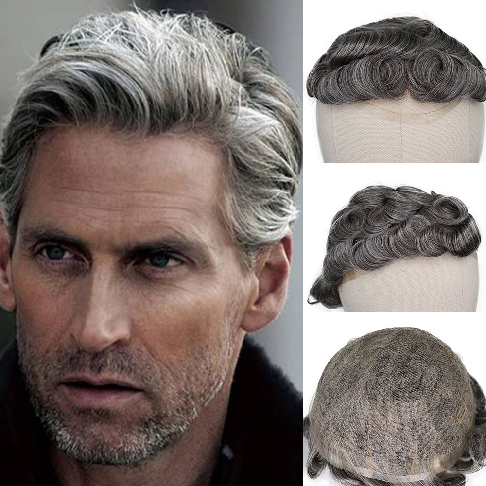 YY Wigs #3 65% Grey Color Human Hair Toupee For Men Remy Human Hair Replacement System Men's Toupee 6 Inch Hair 8x10 Swiss Lace